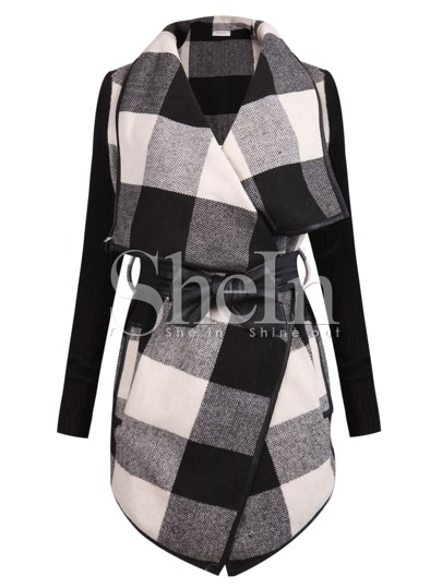 Check Plaid Contrast Ribbed Sleeve Belt Coat