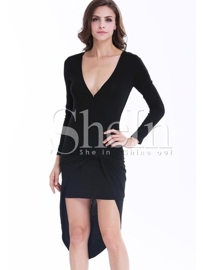 Black V Neck Long Sleeve Asymmetrical Bodycon Dress