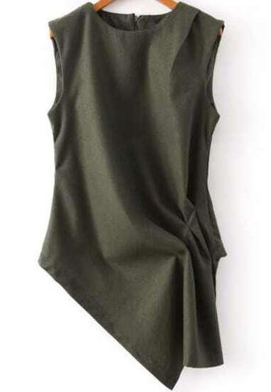 Ärmellose Bluse mit asymmetrischem Design, grün
