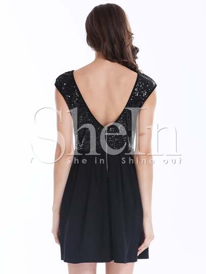 Black Cap Sleeve Sequined V Back Pleated Dress