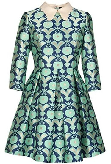 Green Lapel Floral Jacquard Flare Dress