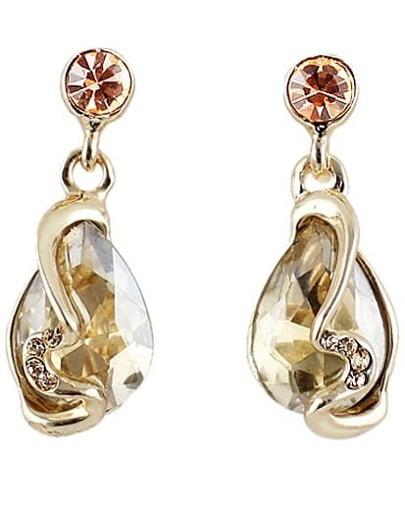 White Drop Gemstone Gold Diamond Earrings