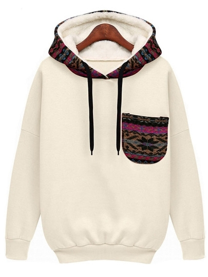 White Hooded Long Sleeve Patterned Pocket Sweatshirt