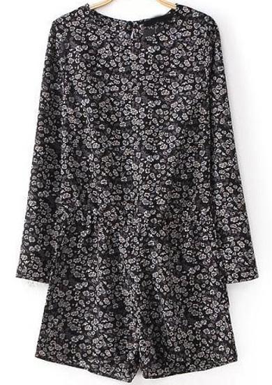 Black Long Sleeve Floral Loose Jumpsuit