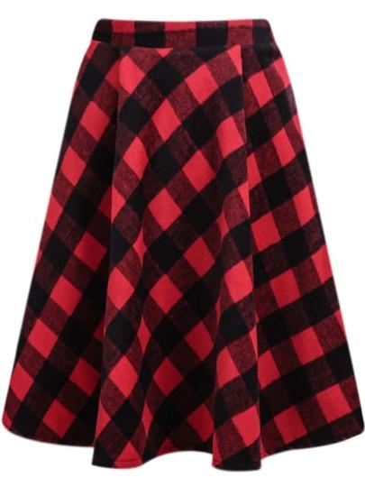 Red Classic Plaid Midi Skirt