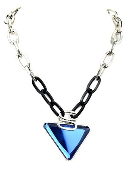 Blue Triangle Gemstone Chain Necklace