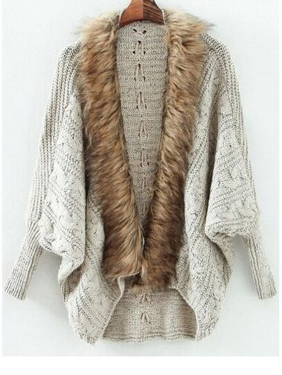 Grey Batwing Long Sleeve Contrast Fur Knit Cardigan
