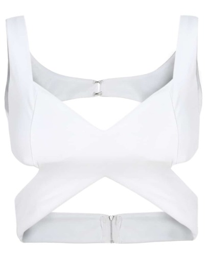 White Wrap Front Crop Bustier Spaghetti Strap Top