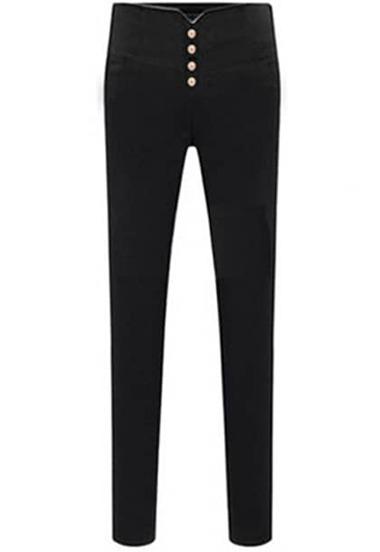 Black Buttons Slim Elastic Pencil Pant