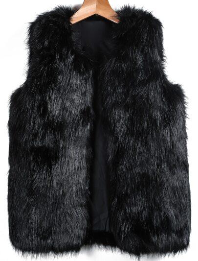 Chaleco piel de zorro sin manga-negro
