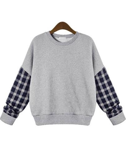 Sweat-Shirt décontracté à plaid -gris