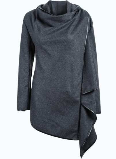 Grey Long Sleeve Contrast PU Leather Coat