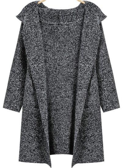 Grey Hooded Long Sleeve Loose Knit Cardigan