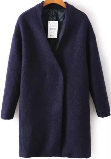 Navy V Neck Long Sleeve Woolen Coat
