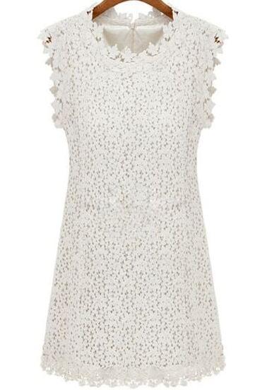 Vestido encaje Floral Crochet sin manga-blanco