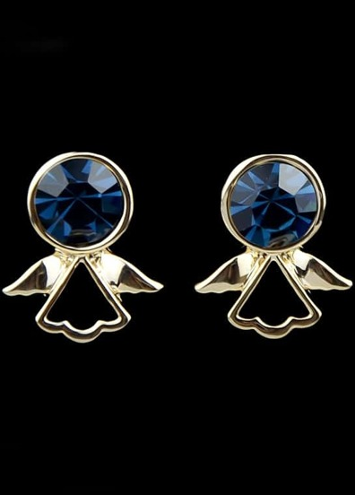 Blue Gemstone Gold Wing Earrings