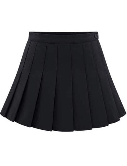 Jupe plissée avec boutons -noir