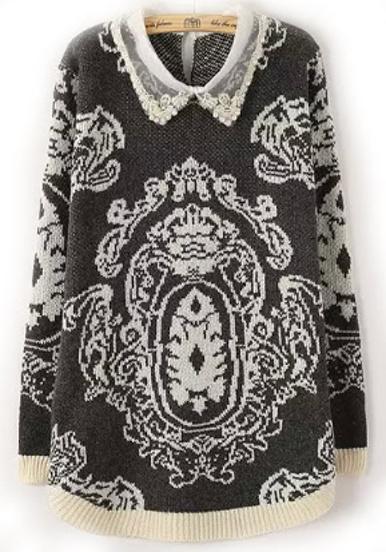 Black Lapel Vintage Print Knit Sweater