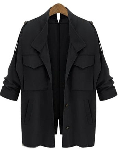 Black Long Sleeve Pockets Loose Coat