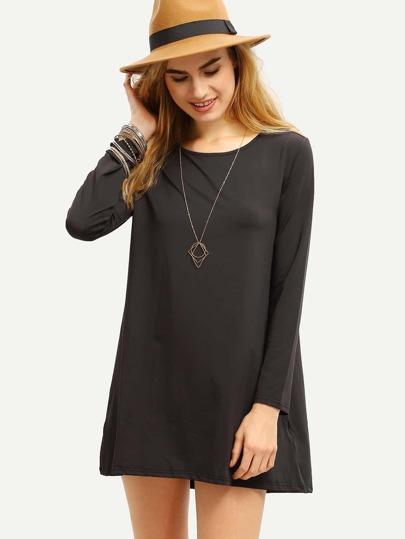 Black Long Sleeve Loose High Low Dress
