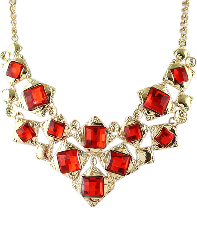 Red Gemstone Gold Geometric Necklace