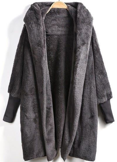 Grey Hooded Long Sleeve Loose Cardigan