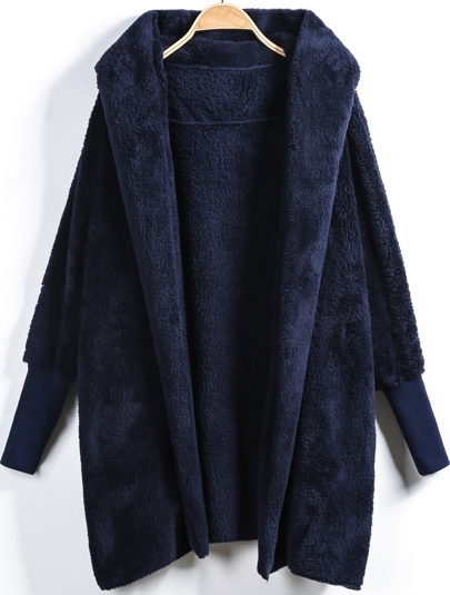 Blue Hooded Long Sleeve Loose Cardigan