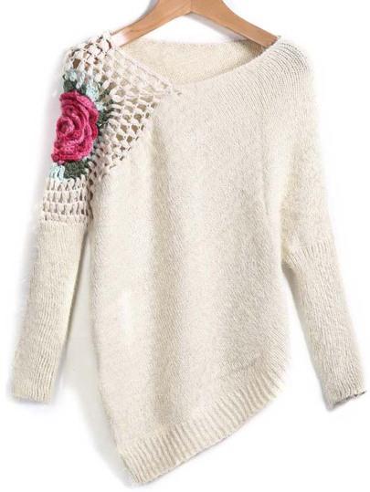 Pullover Rundhals mit Blume-Stich, aprikosenfarbe