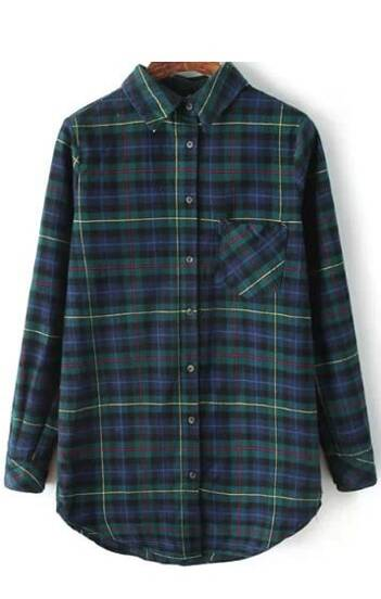 Dark Green Plaid Pocket Windowpane Collar Blouse
