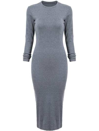 Grey Fairisle Long Sleeve Skinny Split Dress