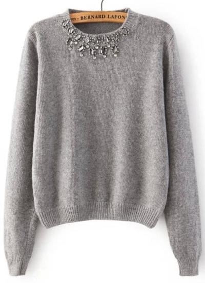 Grey Round Neck Long Sleeve Beaded Knit Sweater