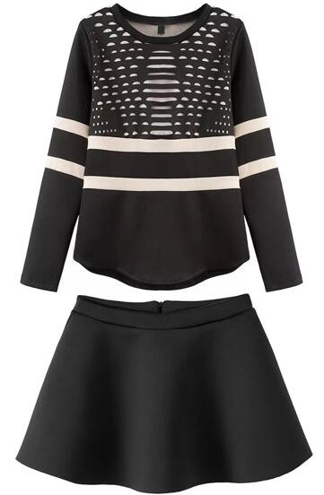 Top cuello redondo hueco manga larga con falda-nero