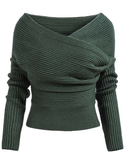 Green Boat Neck Ribbed Sweater