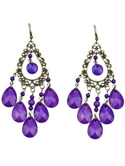 Purple Tassel Rhinestone Water Drop Bead Earring