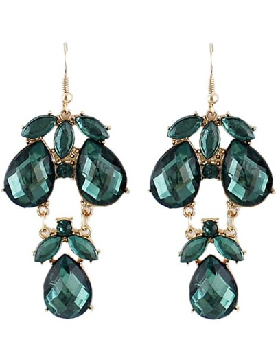 Green Gemstone Drop Dangle Earrings