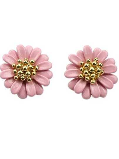 Pink Bead Flower Stud Earrings