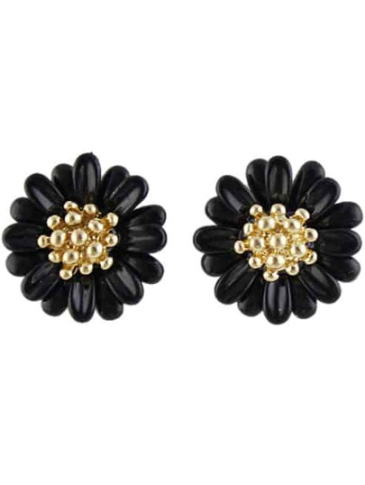 Black Bead Flower Stud Earrings