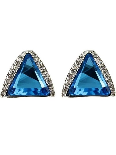 Blue Gemstone Silver Triangle Stud Earrings