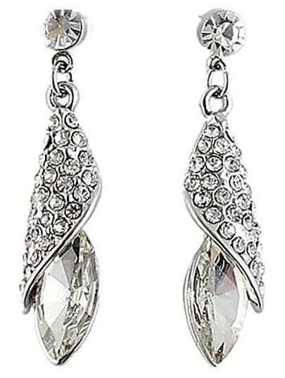 White Gemstone Silver Crystal Stud Earrings