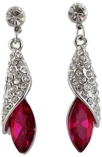 Rose Red Gemstone Silver Crystal Stud Earrings