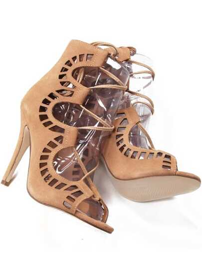 Chaussure talons hauts en cuir -abricot