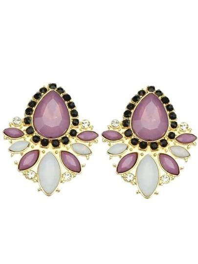 Purple White Gemstone Gold Diamond Earrings