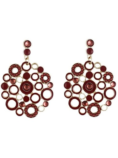 Red Circle Hollow Earrings