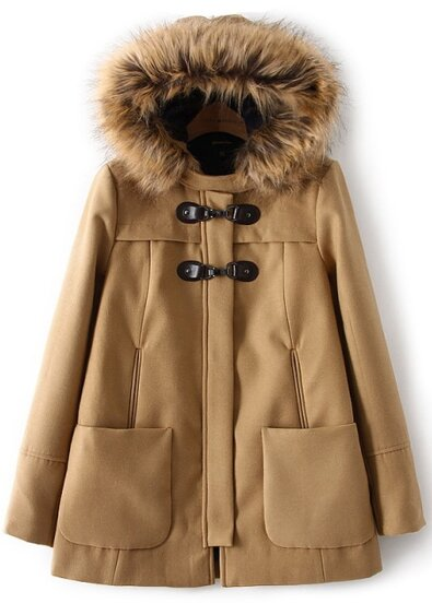 Khaki Faux Fur Hooded Pockets Woolen Coat