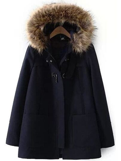 Navy Faux Fur Hooded Pockets Woolen Coat