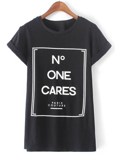 Black Round Neck Monogram Print Casual T-shirt