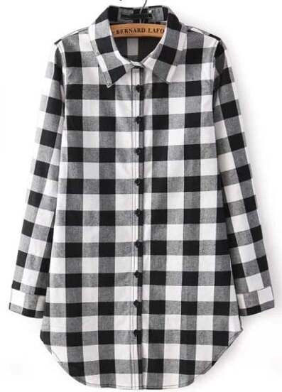 Black Buttons Long Sleeve Checks Plaid Blouse