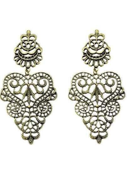 Retro Gold Hollow Earrings