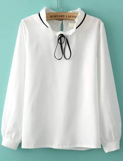 White Tie Collar Long Sleeve Loose Blouse