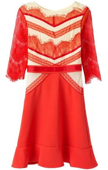 Red Half Sleeve Lace Flouncing Dress